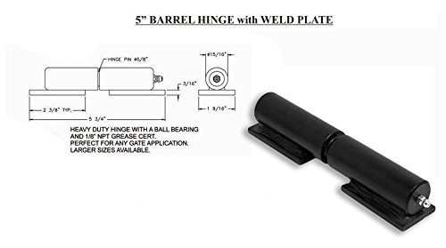 Barrel Gate Hinge Heavy Duty 5'' with Grease fitting and Welding Plate ( Lot 8 Pair ) by L.A. Ornamental (Image #2)