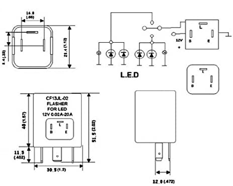 41KiVS3jN9L._SX463_ amazon com 3 pin cf 13 electronic flasher relay fix for led turn wiring diagram for vsm 900 turn signal switch at readyjetset.co