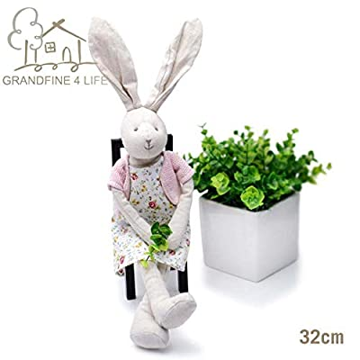 GRANDFINE Luxury Dressed Bunny Girl Stuffed Toys, Lovely Handmade Rabbit Cloth Doll with Flowery Dress,Fresh Valentine's Gift,Little Girl Day Play time Dolly 13'': Toys & Games