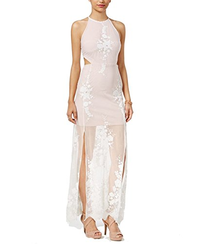 Material Girl Juniors' Embroidered Cutout Maxi Dress (Cloud Dancer Combo, (Embroidered Cut Out Dress)