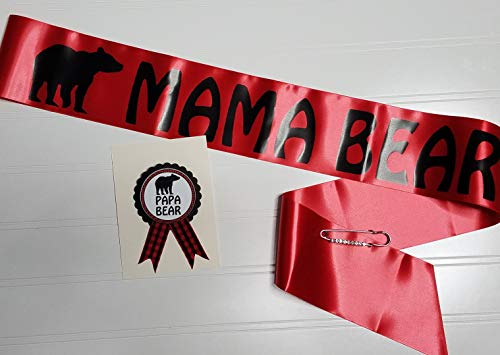 - Buffalo Plaid Mama Bear Baby Shower Sash & Pin for Mom and Daddy to Be Red & Black with Rhinestone Pin
