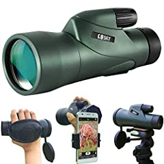 Gosky SKYHAWK 12X55 high power prism monocular and quick smartphone holder specially designed for any outdoor enthusiast, this monocular is perfect for hiking, hunting, Climbing, bird watching, watching wildlife and scenery and other outdoor ...