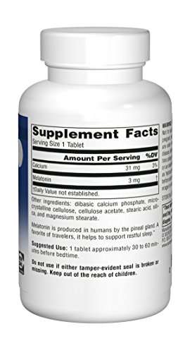 Source Naturals Melatonin 3mg - Sustained Release - 240 Tablets by Source Naturals (Image #2)'