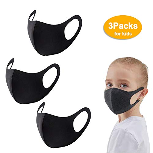 Face Mask 3 Pack Anti-Dust Mouth Mask, Reusable Anti Pollution Mask Cotton Face Mask Breathable for Cycling Camping Travel Unisex (3pcs for kids)