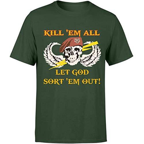 BDgoldchicken 80s Kill Em All Let God Sort Em Out Skull - Humor Sarcasm Funny Shirt