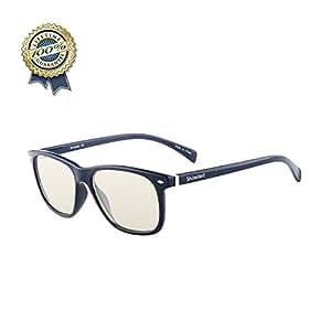Shileded Blue Light Blocking Computer Glasses[Better Sleep]Anti Blue Light,Anti Glare Reading/Gaming Glasses for Men and Women (Black)