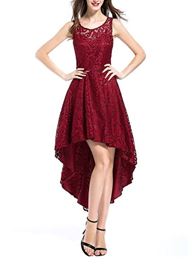 OTEN Women's Wedding Party Bridesmaid Sleeveless Prom High Low Cocktail Dress (M, Wine Red)