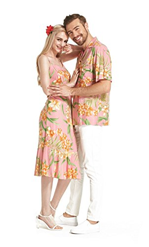 Made In Hawaii Premium Couple Matching Luau Aloha Shirt Dress Floral Pink With Orange Floral L-XL by Hawaii Hangover