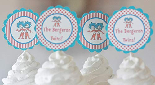 12 - Dr. Seuss Thing 1 Thing 2 Twins Baby Shower Cupcake Toppers - Red & Turquoise Blue Dot Stripe - Party Packages, Favor Tags, Banners, Door Signs Available