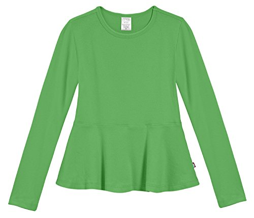 City Threads Little Girls' Cotton Long Sleeve Peplum Top Blouse Shirt For School, Parties or Play Perfect For Sensitive Skin and Sensory Friendly SPD, Elf, 4T -
