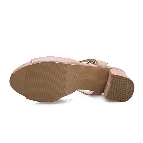 AgooLar Women's Buckle Open Toe Kitten-Heels PU Solid Sandals Pink STIZzCDr