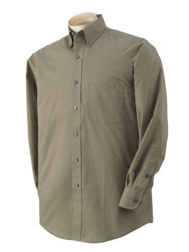 Tall Long Sleeve Twill Shirt - Van Heusen Men's Long Sleeve Dress Twill Shirt, Khaki, Large