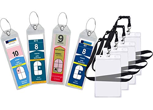 Cruise Luggage Tag Holder Zip Seal & Steel - Royal Caribbean & Celebrity Cruise (8 Pack + 4 ID Holders) ()