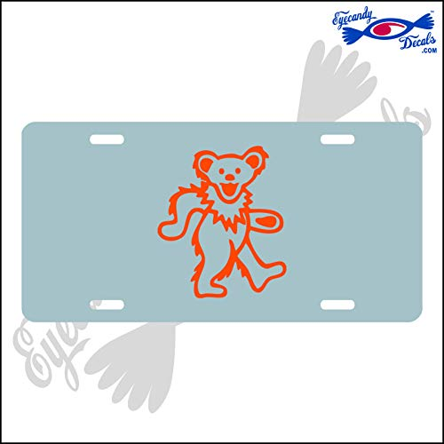 Eyecandy Decals Dancing Bear Orange on a Silver Acrylic Mirror License Plate