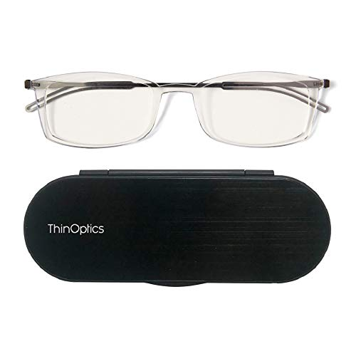 - ThinOptics Brooklyn reading glasses + Milano anodized aluminum, magnetic case | Rectangular clear frames, 1.00 Strength