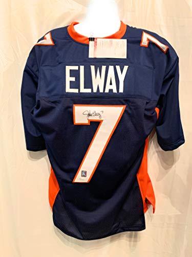 - John Elway Denver Broncos Signed Autograph Custom Blue Jersey Elway Player Holo JSA Witnessed Certified