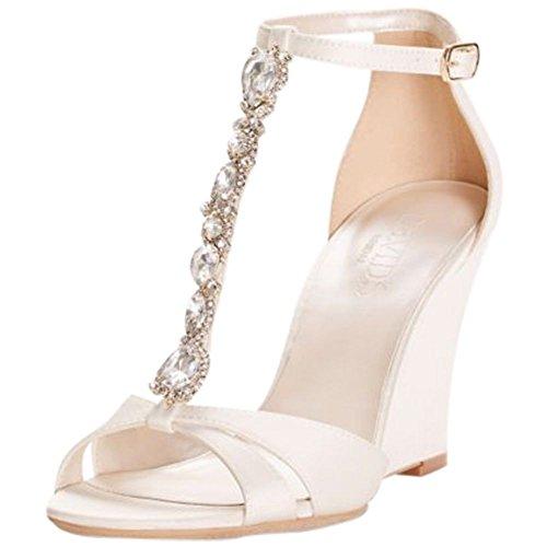 al T-Strap Satin Wedges Style Lulu, Ivory, 5.5 (Ivory Wedge Shoes)