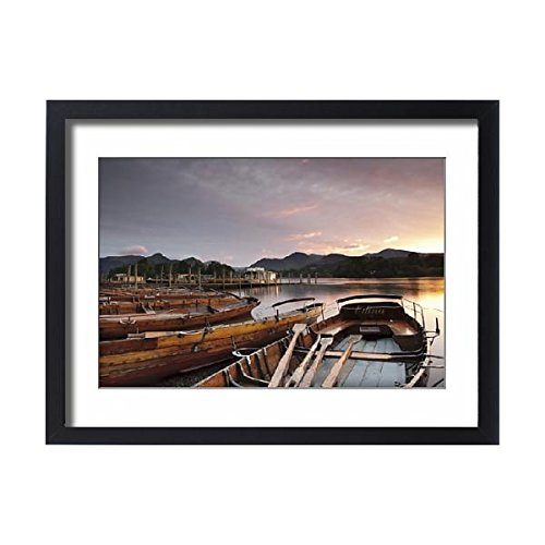 Robert Harding Framed 24x18 Print of Rowing boats on Derwent Water, Keswick, Lake District National Park (Keswick Boat)