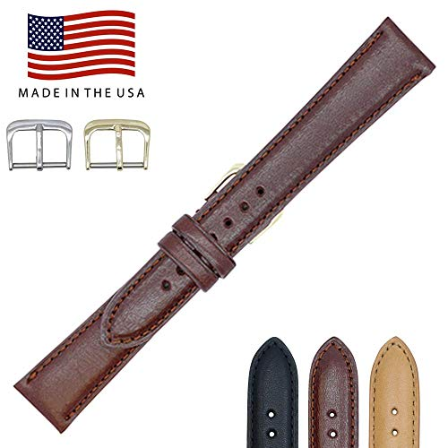 17mm British Brown - Padded Stitched - English Bridle Leather - Watch Strap Band - Gold and Silver Buckles Included - Factory Direct - Made in USA by Real Leather Creations FBA80