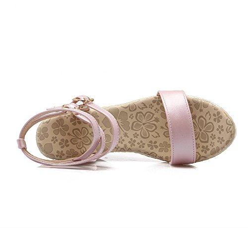 Amoonyfashion Kvinna Pu Fast Spänne Öppen Tå Kick-häl Kilar-sandaler Rosa