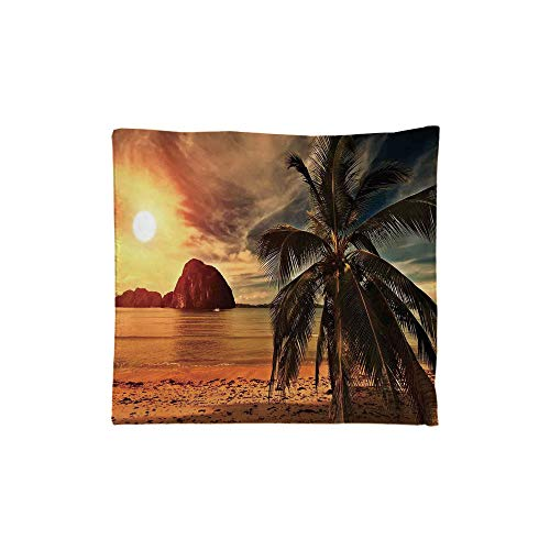 (iPrint Indoor/Outdoor Square Seat Cushion,Comfort Memory Foam Chair Pad,Ocean Decor,Havana Beach Sunny Tropics Mountains and Rocks Decorative,Fit for Most of Chairs)