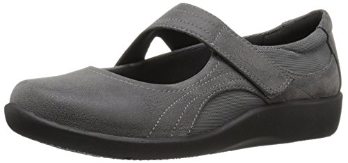 CLARKS Women's Sillian Bella Mary Jane Flat, Grey Synthetic, 10 M US