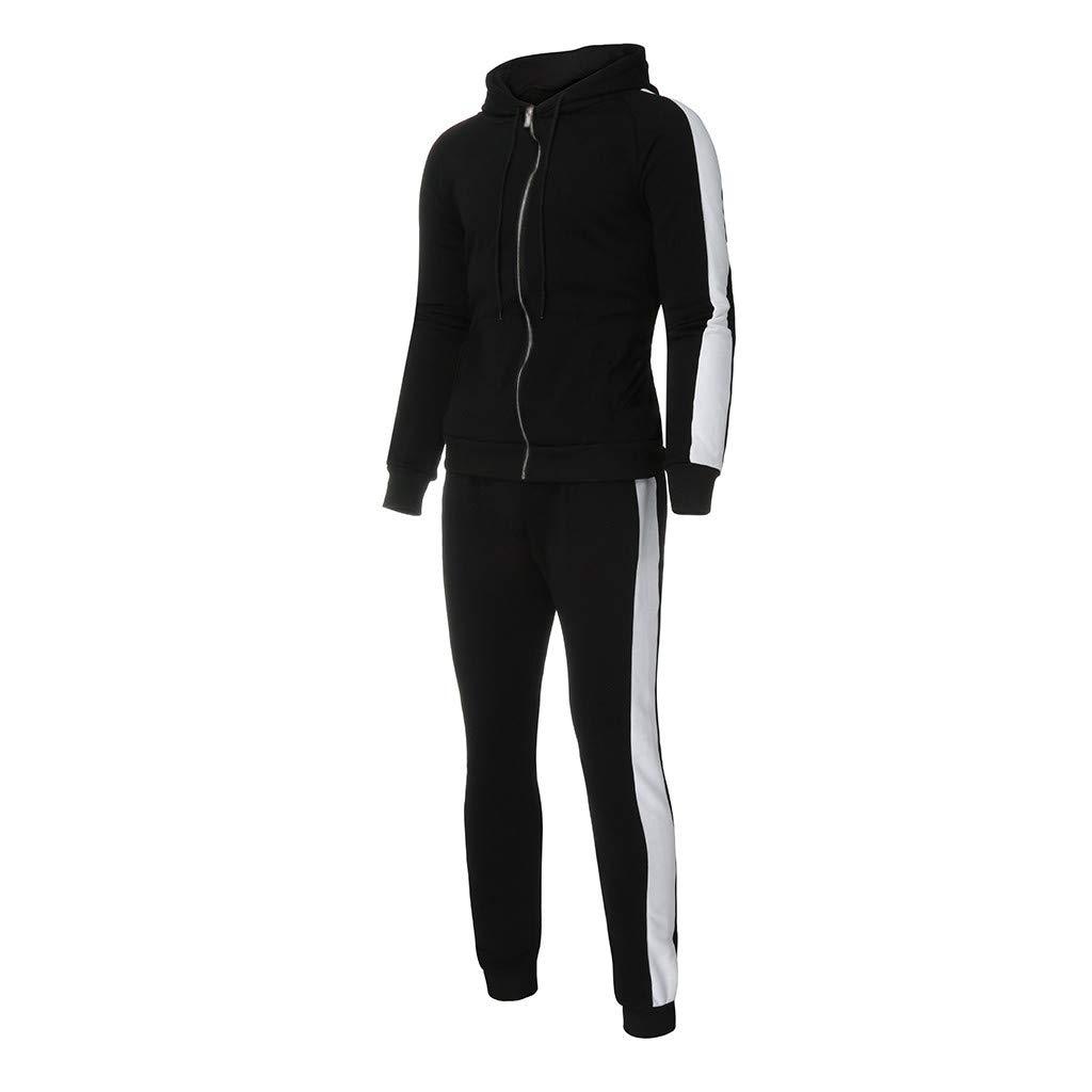 LuckyGirls Conjuntos para Hombre Chaquetas Deportivas con Capucha + Pantalones Color Splicing Casual Sudaderas Deportes Chándal 2Pcs: Amazon.es: Deportes y ...