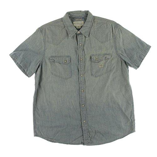 Denim & Supply Ralph Lauren Mens Chambray Short Sleeves Western Shirt Blue - Western Lauren Ralph