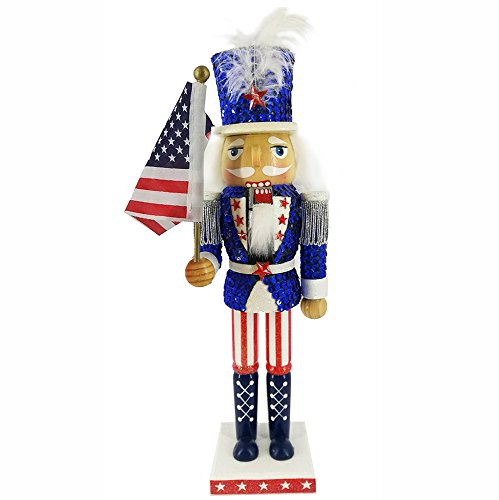 Christmas Holiday Wooden Nutcracker Figure Soldier Uncle Sam with USA Patriotic Red, White, and Blue Uniform Jacket, Large, 12 inch ()