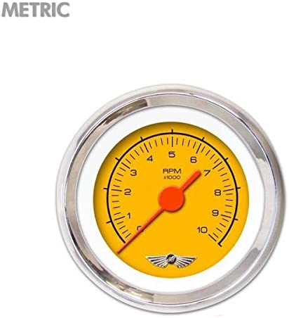 Aurora Instruments 6232 Competition Yellow Tachometer Gauge with Emblem Orange Vintage Needles, Chrome Trim Rings, Style Kit Installed