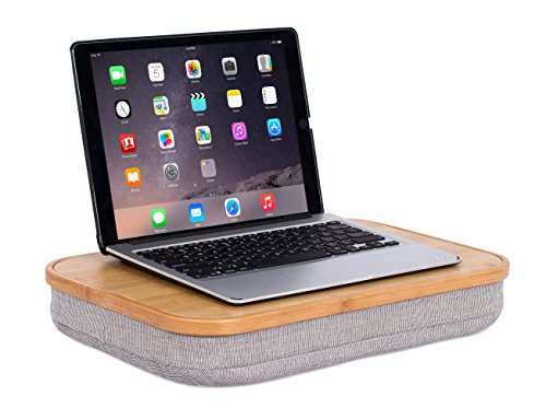 BirdRock Home Bamboo Lap Desk with Laptop Storage Compartment | Pillow Cushioned Laptop Accessories Book Stand | Great for Bed Couch Table Sofa Chair | Food Serving Tray | Grey ()