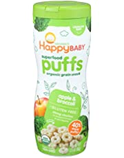 Happy Baby Organic Superpuff Apple and Broccoli Puffs, 60g