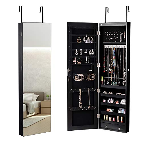 (Giantex Wall Door Jewelry Armoire Cabinet with Mirror, 2 LED Lights Auto-On Large Storage Wide Mirrored 1 Scarf Rod 36 Hooks 1 Makeup Pouch Organizer for Bedroom, Jewelry Amoires w/ 2 Drawers (Black))