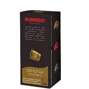 Kimbo Caffe' 10 CAPSULE KIMBO MISCELA ARMONIA 100% ARABICA COMPATIBILITA' NESPRESSO