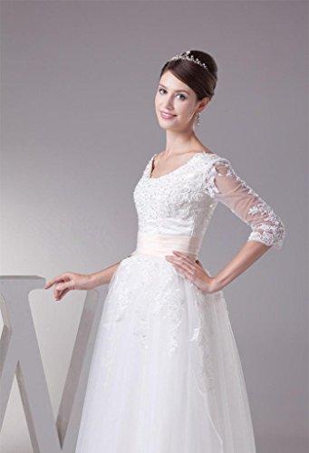 Tea Wedding Women's Lace Sleeve Dress DZdress Half White Gown length Up Bridal xACXwqw