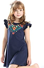 Little Girls Summer Casual Cotton Flying Sleeves Cute Cartoon Printed Dresses