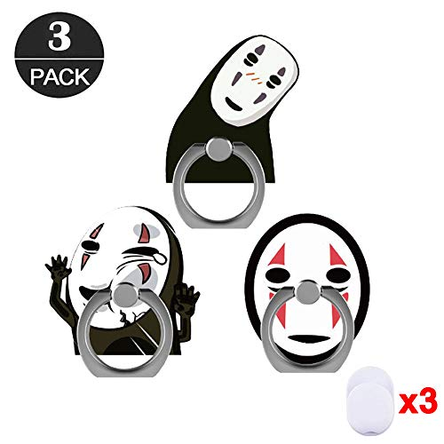 ZOEAST(TM) 3 Pack Phone Ring Sprited Away Black Mask Ghost Universal 360° Adjustable Holder Desk Hook Stand Stent Mount Kickstand Compatible with iPhone X Plus Samsung iPad Tablet (3pcs No Face Man)