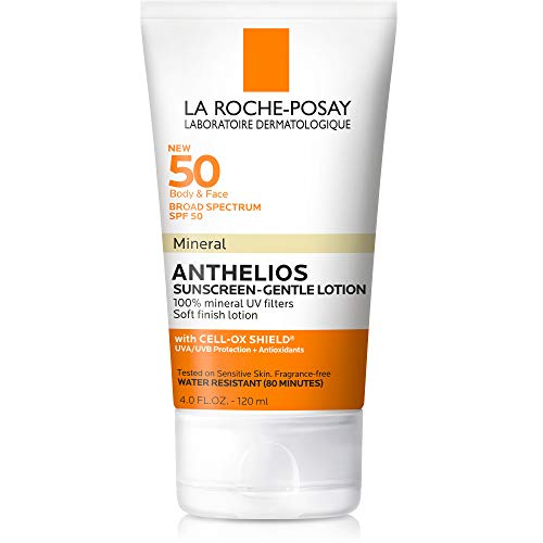 Anthelios Body and Face Mineral Sunscreen SPF 50, Soft Finish Lotion with 100% Mineral UV Filters, 4.0 Fl. Oz. ()