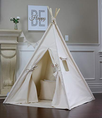 Natural Canvas Teepee with Floor, Pocket, LED Light, Flags Banner and Storage Bag, Play Tent, Play House, Kids Room…