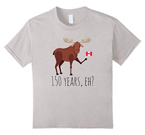 Unisex Child Moose Canadian Flag 150 Year Canada Celebration Day Shirt 8 Silver