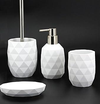 Set Salle De Bain.Set Salle De Bain Wc Geometric Blanc Mat Decoration Luxe