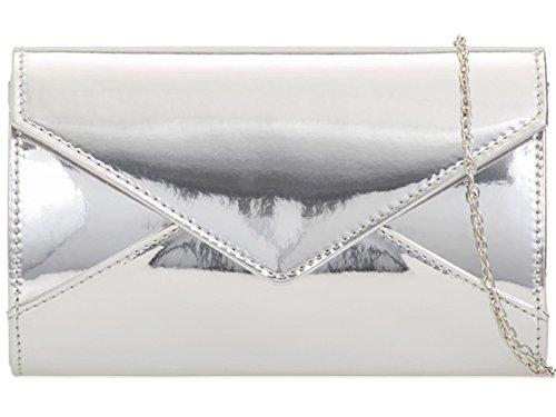 Wedding Hand Clutch Bag Purse Ladies Zes Patent Party Plain Shinny Prom Evening Silver ztt8qwPv