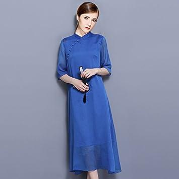 GAOLIM Vestido Vestido Sophie Miyuki Tejida Presidente Ronald Irregular,XL, Vestido Azul Royal Revestimiento