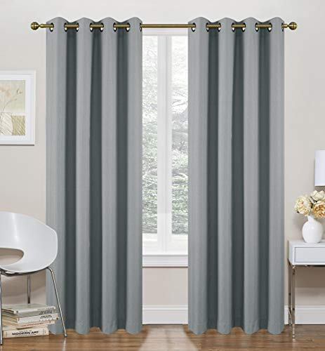 """Ruthy's Textile Grey Thermal Lined Curtains - 2 x 52"""" x 84"""" Panels, Grommet Top - Foamback, Energy Efficient, Noise Reducing, Room Darkening Solid Drapes – for Bedrooms and Living Rooms"""