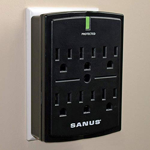(SANUS On-Wall Low Profile 1080J Fireproof Surge Protector With 6 AC Outlets & 3 Lines Of Protection - Includes Power Signal Filtering & Mounting Screw)