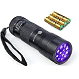TaoTronics Black Light, UV Blacklight Flashlights, 12 LEDs 395nm, 3 Free AAA Batteries, for Pets Urine and Stains Detector