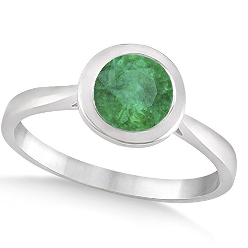 Women's Floating Bezel Set Solitaire Emerald Engagement Ring 14k White Gold (1.00ct)
