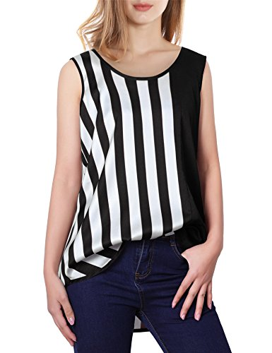 Vivilli Sleeveless Tops For Women, Ladies Chiffon Blouse Shirts For Work Comfortable Vertical Striped Flowy Tank Top Plus Size Black White (Multi Colored Sleeveless Top)