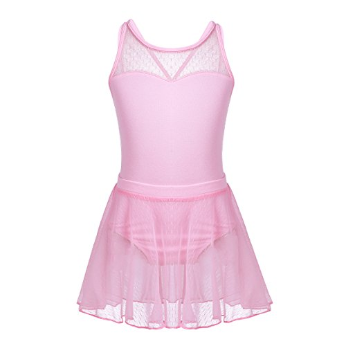 - Freebily Girls Cotton Spaghetti Shoulder Straps Ballet Dance Gymnastics Leotard with Mesh Tied Skirt Outfit Set Pink(Criss-Cross Back) 7-8