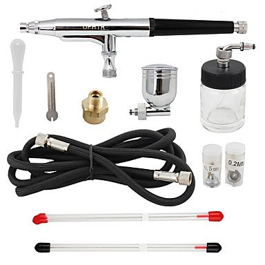 3 Tips Gravity Dual Action Airbrush Kit for Tattoo Makeup Compressor Kit by HJLHYL